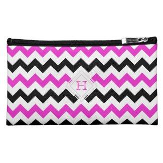 Monogram: Pink, Black, White Chevron Pattern Bag Cosmetics Bags
