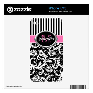 Monogram Pink Black White Stripe Damask iPhone4/4s Decals For The iPhone 4