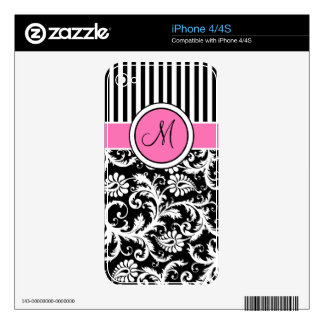 Monogram Pink Black White Stripe Damask iPhone4/4s Skin For iPhone 4S