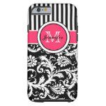 Monogram Pink Black White Striped Damask iPhone 6  Tough iPhone 6 Case