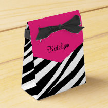 Monogram Pink & Black Zebra Print Favor Box