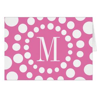 Monogram Pink Blank Note Card