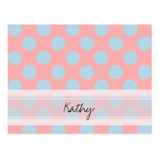Monogram Pink Blue Chic Polka Dot Pattern Postcard