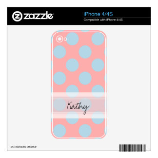 Monogram Pink Blue Chic Polka Dot Pattern Skin For The iPhone 4S