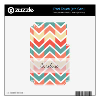 Monogram Pink Blue Geo Abstract Chevron Pattern Decal For iPod Touch 4G
