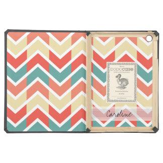 Monogram Pink Blue Geo Abstract Chevron Pattern iPad Air Case