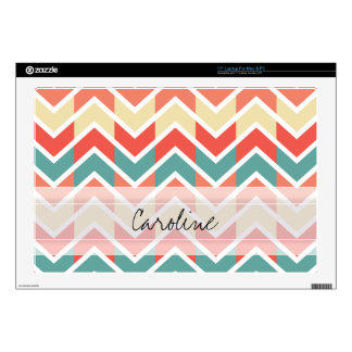 Monogram Pink Blue Geo Abstract Chevron Pattern Skins For Laptops
