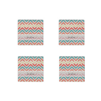 Monogram Pink Blue Geo Abstract Chevron Pattern Stone Magnet