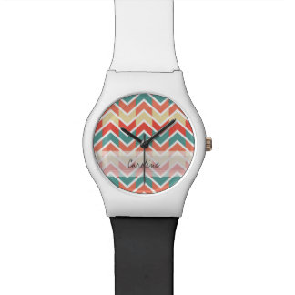 Monogram Pink Blue Geo Abstract Chevron Pattern Watch