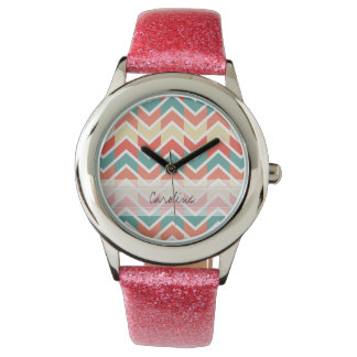 Monogram Pink Blue Geo Abstract Chevron Pattern Wrist Watch