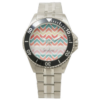 Monogram Pink Blue Geo Abstract Chevron Pattern Wristwatch