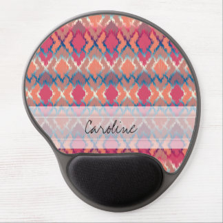 Monogram Pink Blue Gradient Ikat Diamond Pattern Gel Mouse Pad