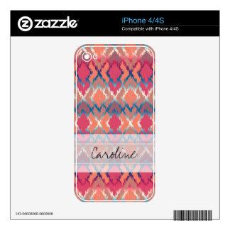 Monogram Pink Blue Gradient Ikat Diamond Pattern iPhone 4S Decal