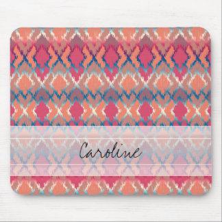 Monogram Pink Blue Gradient Ikat Diamond Pattern Mouse Pad