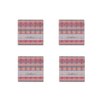 Monogram Pink Blue Gradient Ikat Diamond Pattern Stone Magnet