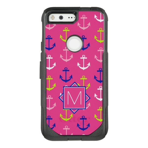 Monogram | Pink & Blue Nautical OtterBox Commuter Google Pixel Case