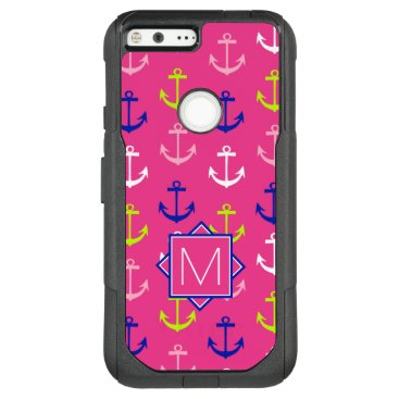 Beach Themed Monogram | Pink & Blue Nautical OtterBox Commuter Google Pixel XL Case