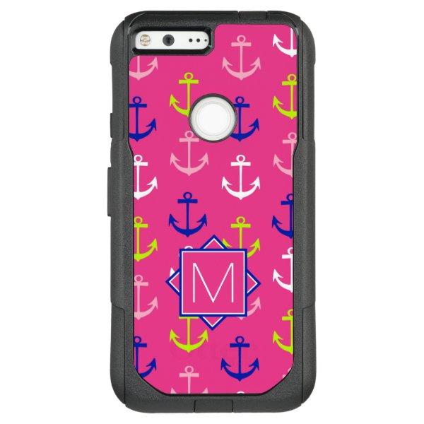 Monogram | Pink & Blue Nautical OtterBox Commuter Google Pixel XL Case