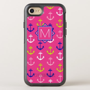 Beach Themed Monogram | Pink & Blue Nautical OtterBox Symmetry iPhone 7 Case