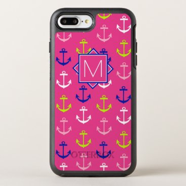 Beach Themed Monogram | Pink & Blue Nautical OtterBox Symmetry iPhone 7 Plus Case