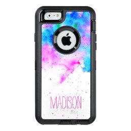 monogram pink blue watercolor brushstrokes custom OtterBox defender iPhone case