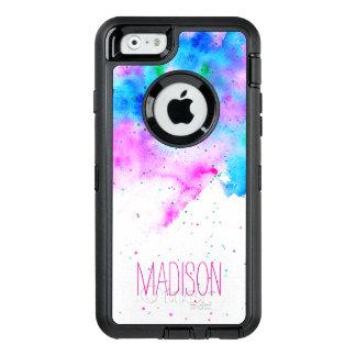 monogram pink blue watercolor brushstrokes custom OtterBox iPhone 6/6s case