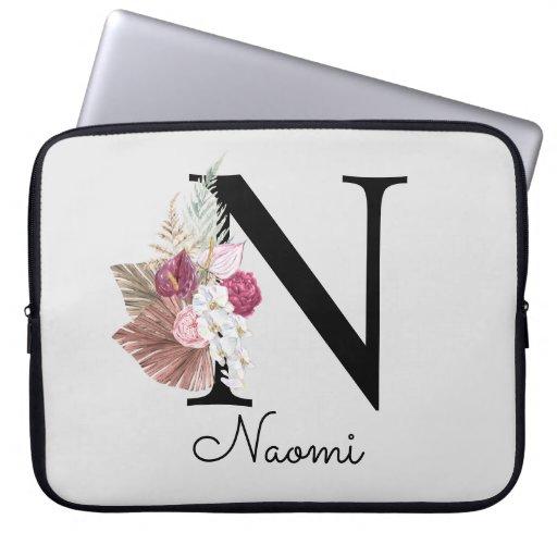 Monogram Pink Boho Girly Floral Initial N Laptop Sleeve