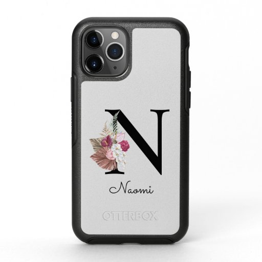 Monogram Pink Boho Girly Floral Initial N OtterBox Symmetry iPhone 11 Pro Case