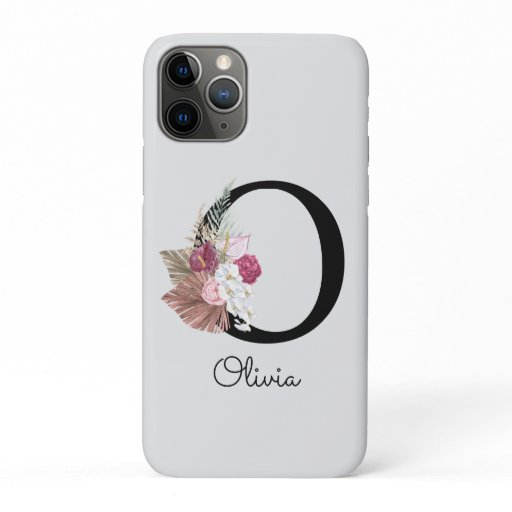 Monogram Pink Boho Girly Floral Initial O iPhone 11 Pro Case