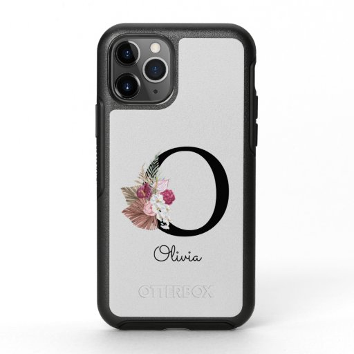 Monogram Pink Boho Girly Floral Initial O OtterBox Symmetry iPhone 11 Pro Case