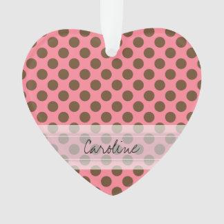 Monogram Pink Brown Cute Chic Polka Dot Pattern