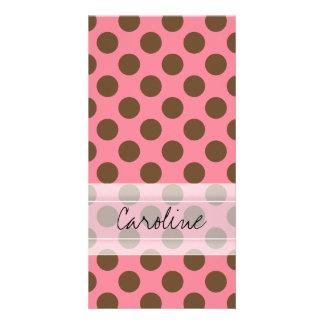 Monogram Pink Brown Cute Chic Polka Dot Pattern Card