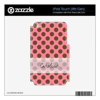 Monogram Pink Brown Cute Chic Polka Dot Pattern Decals For iPod Touch 4G
