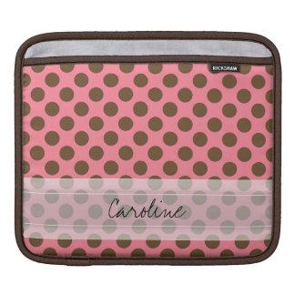Monogram Pink Brown Cute Chic Polka Dot Pattern iPad Sleeve