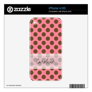 Monogram Pink Brown Cute Chic Polka Dot Pattern Skins For The iPhone 4