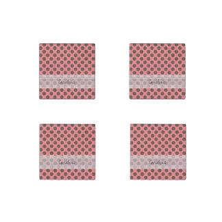 Monogram Pink Brown Cute Chic Polka Dot Pattern Stone Magnet