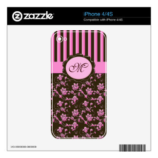 Monogram Pink Brown Floral Stripe iPhone 4/4s Skin Skins For The iPhone 4