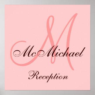 Monogram Pink Brown Wedding Reception Sign
