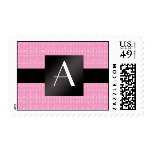 Monogram pink bubbles pattern postage
