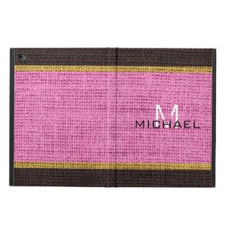 Monogram Pink Burlap Linen Rustic Jute Powis iPad Air 2 Case