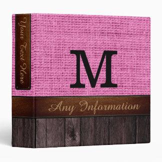 Monogram Pink Burlap Rustic Jute Look Wood Binder