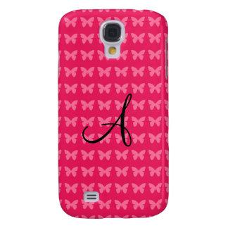 Monogram pink butterflies galaxy s4 covers