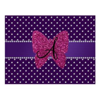 Monogram pink butterfly purple diamonds postcard