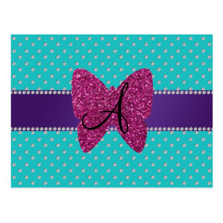 Monogram pink butterfly turquoise butterfly post cards