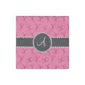 Monogram pink cheerleading black circle stone magnet