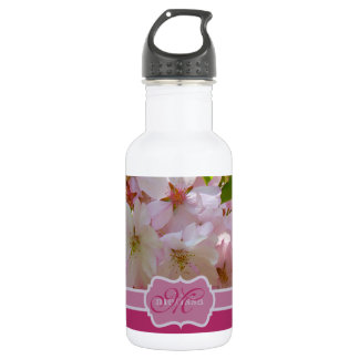 Monogram Pink Cherry Blossoms Green Leaves Water Bottle