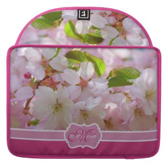 Monogram Pink Cherry Blossoms with Green Leaves MacBook Pro Sleeves
