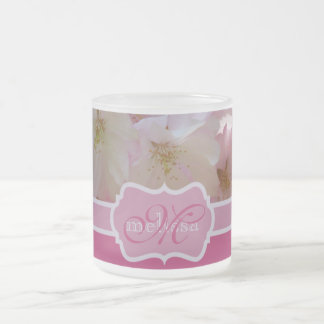 Monogram Pink Cherry Blossoms with Green Leaves 10 Oz Frosted Glass Coffee Mug