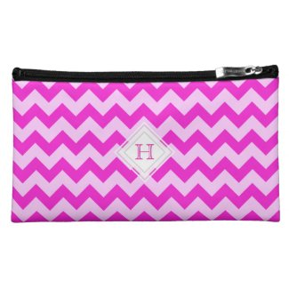 Monogram: Pink Chevron Print Bag Makeup Bags