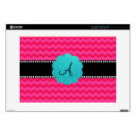 Monogram pink chevrons decal for laptop